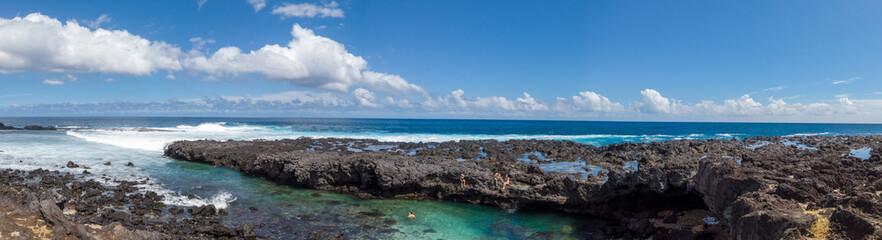 Beautiful natural pool on Reunion island coastline