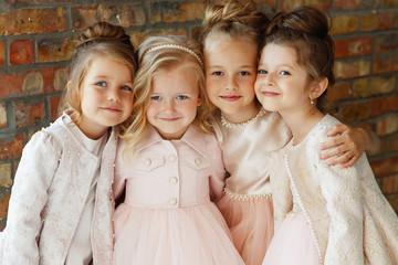 Little fashion girls in a beautiful dress.  Wall mural