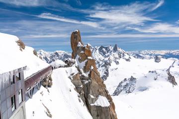 view on Aiguille du Midi in Chamonix, Mont Blanc massif, France