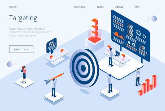 Targeting business isometric concept vector for landing page, website, app