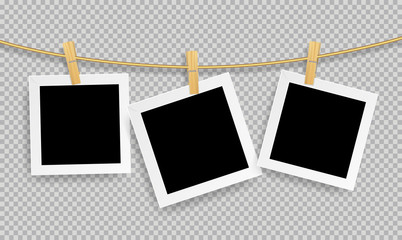 Wall Mural - Retro realistic photo frame with paper clip wood isolated on transparent background