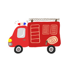 Colorful illustration, kids toy fire engine. Vector illustration for prints, cards, posters, decorations and other child designs