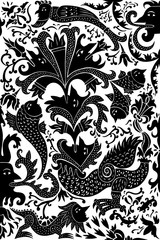 A collection of decorative motifs and comic characters based on medieval and gothic designs