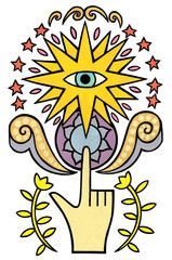 A motif with a finger a star and an eye