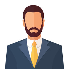 Business man with beard in a suit and a tie portrait flat style cartoon vector illustration isolated on white.