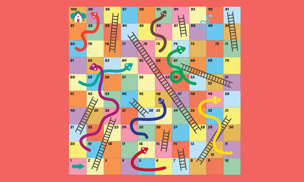 Vector illustration of Puzzle game Snake ladder