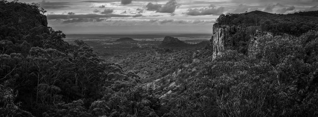 Minerva Hills is a national park in Central Queensland, Australia. The park features a rugged landscape with volcanic peaks, sheltered gorges, sheer cliffs, open woodlands and dry rainforest.-Picture.