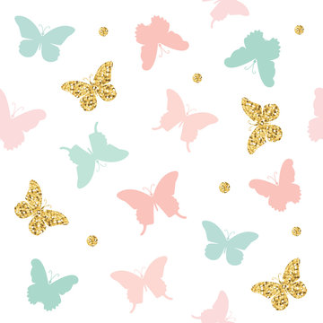 Glitter, pastel pink and blue butterflies seamless pattern background. Vector