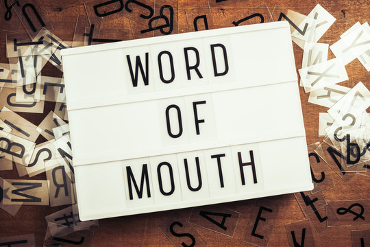 Word of Mouth Text on Lightbox