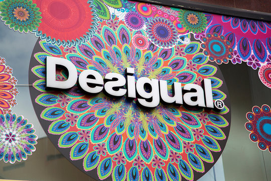 Detail of the Desigual shop in Las Palmas, Spain. Desigual is a casual clothing brand founded at 1984 in Barcelona, Spain