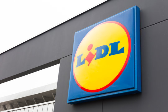 Detail of Lidl store in Hanover, Germany. Lidl is an German global discount supermarket chain founded at 1930.
