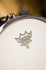 Detail of the Remo Instruments drum. Remo Inc. is an American  percussion instrument company, founde dat 1957.