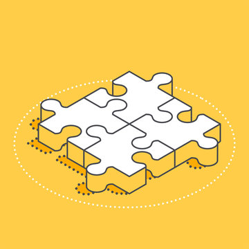 isometric vector image on a yellow background, four pieces puzzle, business concept icon