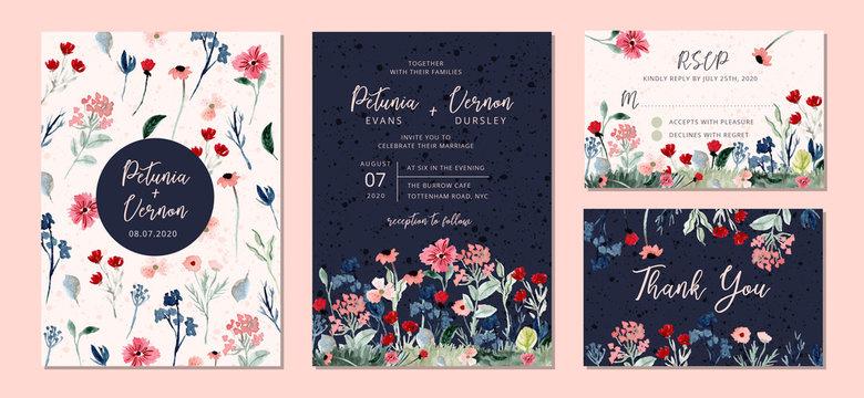 wedding invitation suite with wild floral garden watercolor