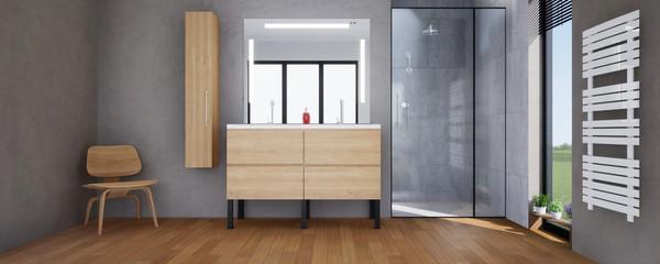 Obraz vue 3d salle de bain avec sèche serviette - fototapety do salonu
