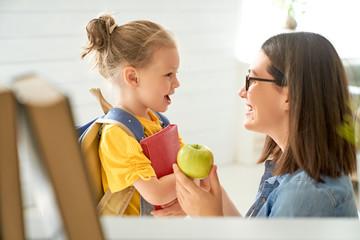 Parent and pupil of preschool. Fotoväggar