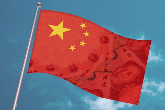 China national flag overlaid with Yuan renminbi banknotes waves on blue sky background. Chinese money and political situation. Concept of Chinese financial and business markets changes