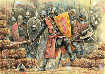 Medieval knights attack illustration. Battle with Johanniter knights. Medieval battlefield and Conquest of Jerusalem.