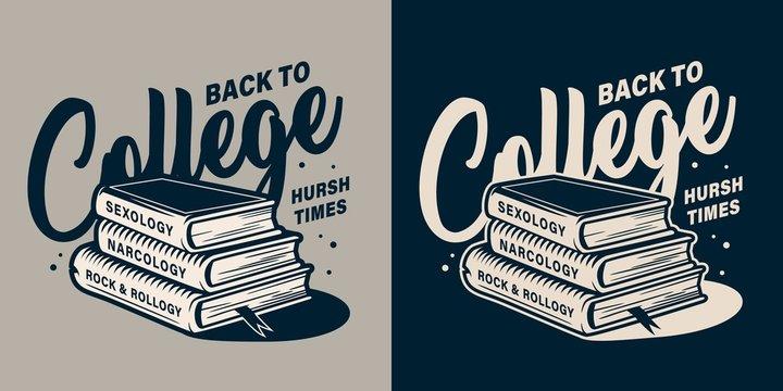 Vintage college monochrome print