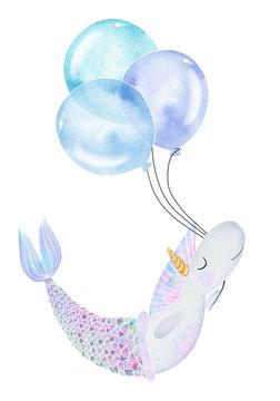 Cute watercolor unicorn mermaid with big balloons