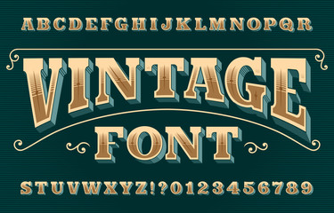 Vintage 3D alphabet font. Ornate retro letters and numbers. Vector typeface for your typography design.