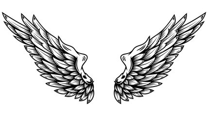Angel wings in tattoo style isolated on white background. Design element for poster, t shit, card, emblem, sign, badge.