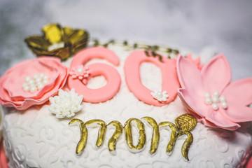 Decorative Fondant Icing on Mom's 60th Birthday Cake