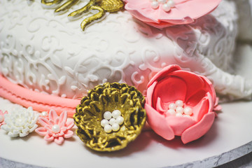 Hand Made Decorative Fondant Flowers on Cake