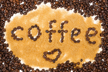 background of coffee beans and sugar, horizontal