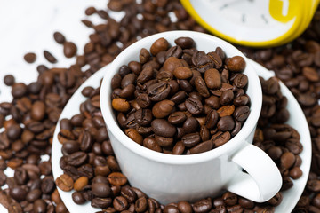 cup of coffee beans, conceptual photography, top view