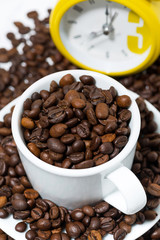 cup of coffee beans, conceptual photography, vertical top view