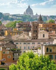 Panoramic view from the Orange Garden (Giardino degli Aranci) on the aventine hill in Rome, Italy.