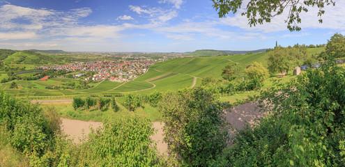 Aussicht auf Weinstadt und Beutelsbach im Remstal vom Remstalkino, Aussichtsplattform und Bestandteil der Landesgartenschau 2019
