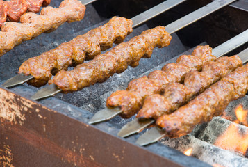 Fototapete - cooking traditional oriental adana kebab