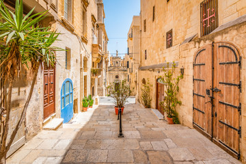 Narrow street in city centre of Valletta, Malta.