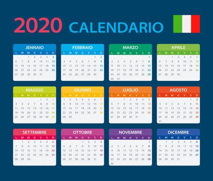 2020 Calendar Italian - vector illustration