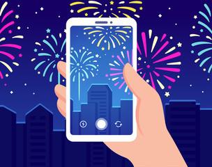 Smartphone recording fireworks video