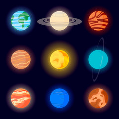 Icons of the planets of the solar system and the sun. Cartoon vector illustration on space background without stars