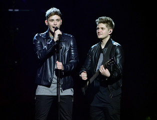 """Britain's Joe and Jake rehearse the song """"You're Not Alone"""" at the Ericsson Globe in Stockholm"""