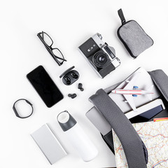 Modern backpack with laptop and tablet inside