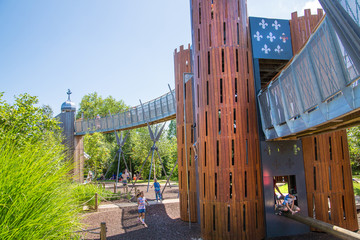 London, UK. Kids playground at West London. Slide and Bridges.