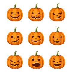 Vector set of nine jack-o'-lanterns (Halloween pumpkins) isolated on a white background.