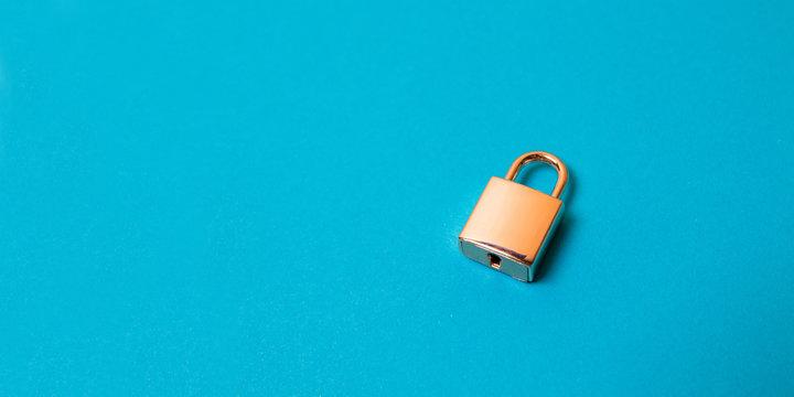 Locked golden padlock on the blue background.