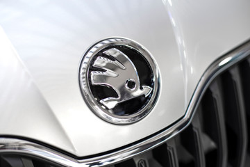 Detail of the Skoda car. is a Czech automobile manufacturer founded in 1895.