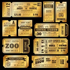 Golden tickets. Old gold admission vip ticket of circus, wedding party and cinema, theater concert. Raffle premium coupons vector set