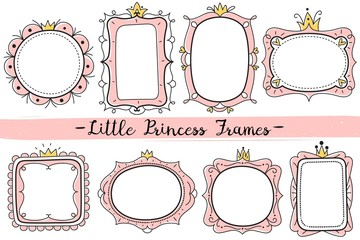 Little princess frames. Pink cute mirrors frame, baby girl birthday party invitation card with hand drawn crown vector template