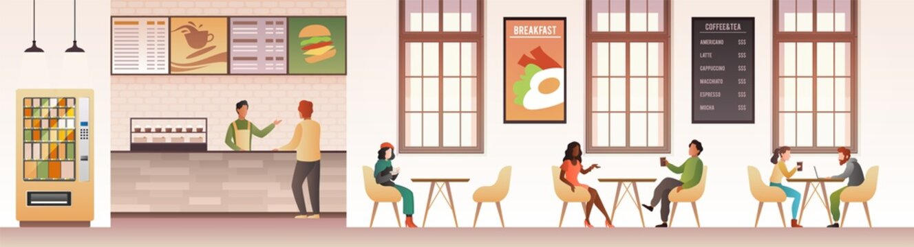 People at restaurant. Guys snacking meal in food court, family eating dinner in cafeteria or buffet interior flat vector design