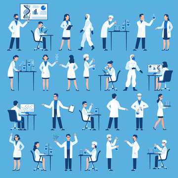 Scientists characters. Doctors group in science hospital laboratory, biological research with test clinical lab equipment vector set