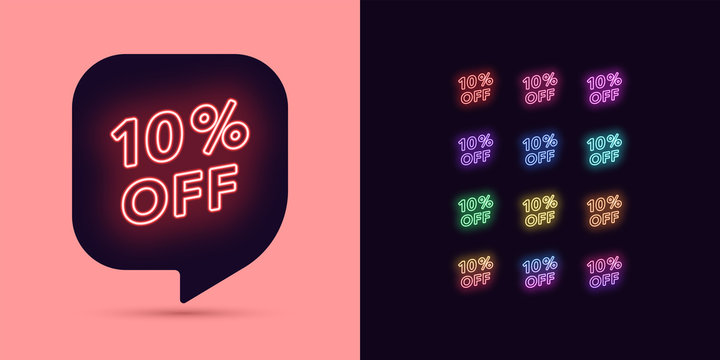 Neon Discount Tag, 10 Percentage Off. Offer Sale