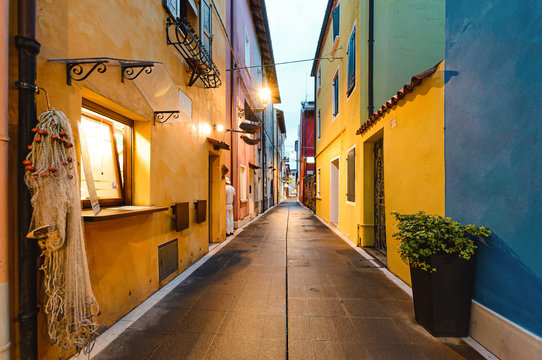 colorful street in the Old city of Europe.
